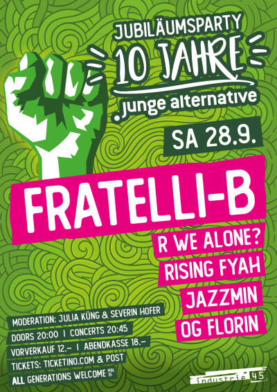 Flyer Jubiläumsparty Junge Alternative Zug