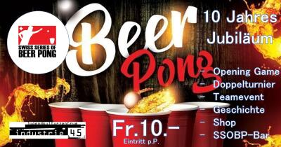 Flyer Swiss Series of Beer Pong - 10. Jahres Jubiläum